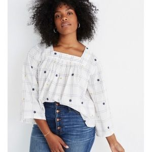 Madewell Embroidered Windowpane Square-Neck Top